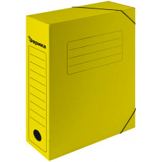Папка архивная 75 мм. желтая с резинками
