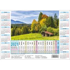 Производственный табель календарь на 2021 год А4 формата
