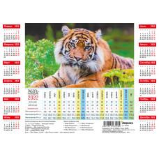 Производственный табель календарь на 2022 год А4 формата - Тигр в зеленой траве