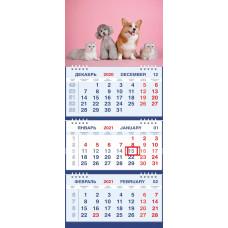 Календарь МАЛОЕ ТРИО - Домашние любимцы на розовом фоне