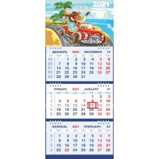 Календарь МАЛОЕ ТРИО - Мультяшный Бык на красной машине